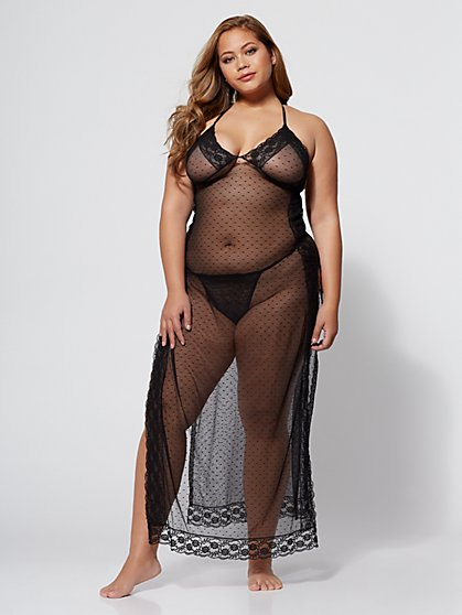 Plus Size Cher Lace Slip Lingerie Set - Fashion To Figure