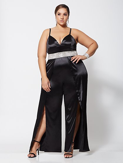 Plus Size Cherie Rhinestone-Waist Jumpsuit - Fashion To Figure
