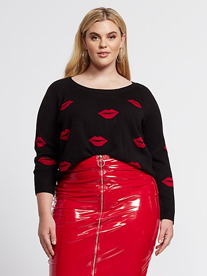 Plus Size Cherri Lip Print Sweater - Fashion To Figure