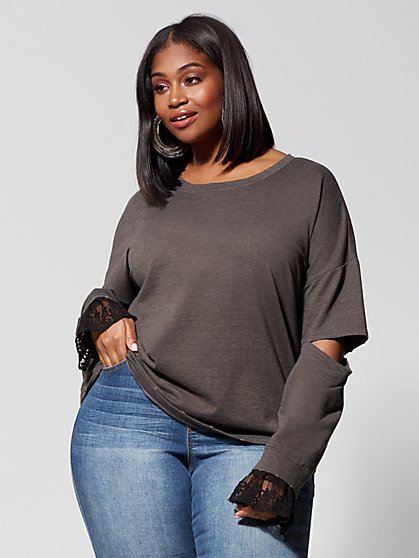 Plus Size Chiara Lace-Trim Sleeve Sweatshirt - Fashion To Figure