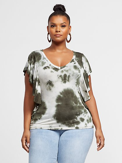 Plus Size Chiara Tie-Dye Ruffle Sleeve Tee - Fashion To Figure