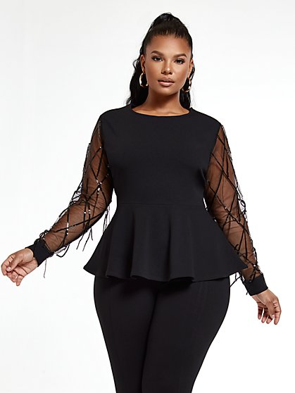Plus Size Chloe Peplum Top with Sequin Sleeves - Fashion To Figure