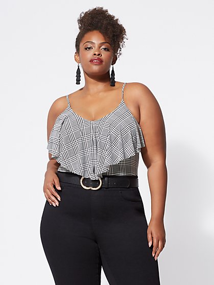 Plus Size Chloe Plaid Bodysuit - Fashion To Figure