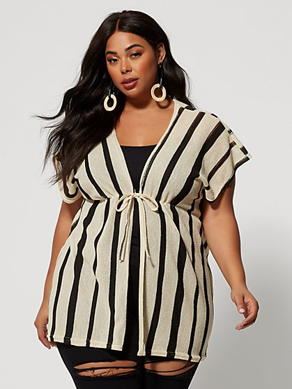 Plus Size Chloe Stripe Kimono - Fashion To Figure