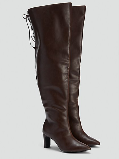 Plus Size Chocolate Thigh High Boots - NADIA X FTF - Fashion To Figure