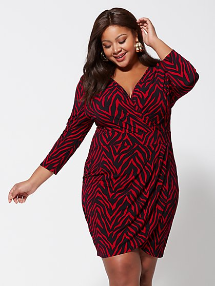 Plus Size Chrissie Drape-Front Dress - Fashion To Figure