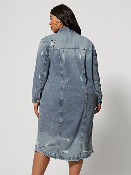 5f44dc535ea ... Plus Size Chrissy Destructed Trucker Jacket - Fashion To Figure