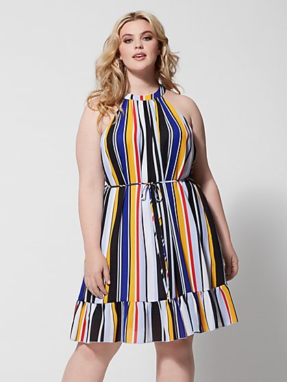 Plus Size Christel Striped Ruffle Flounce Dress - Fashion To Figure