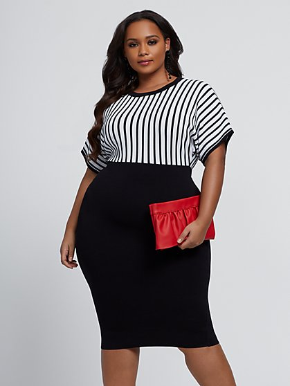 Plus Size Christine Striped Bodice Dress - Fashion To Figure