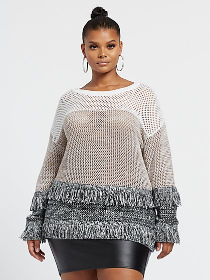 Plus Size Ciana Fringe Sweater - Fashion To Figure