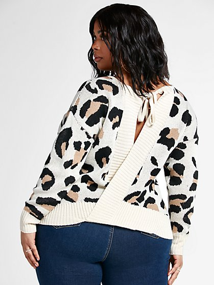 Plus Size Ciara Open Back Leopard Print Sweater - Fashion To Figure