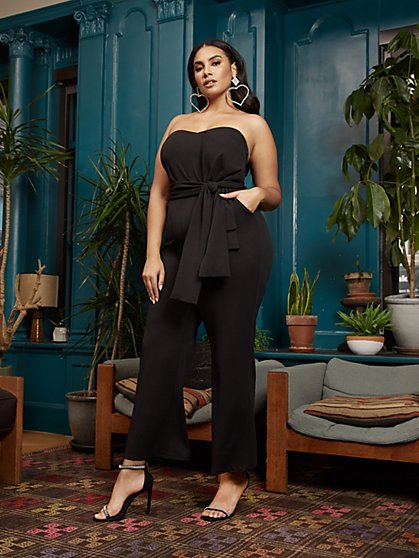 Plus Size Cindy Strapless Bow Detail Jumpsuit - Fashion To Figure