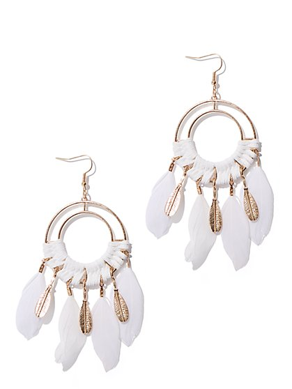 Plus Size Circle & Feather Drop Earrings - Fashion To Figure