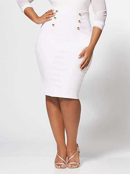 Plus Size Clara Button Detail Pencil Skirt - Fashion To Figure