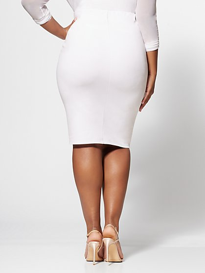 e81fbb5b8b ... Plus Size Clara Button Detail Pencil Skirt - Fashion To Figure ...