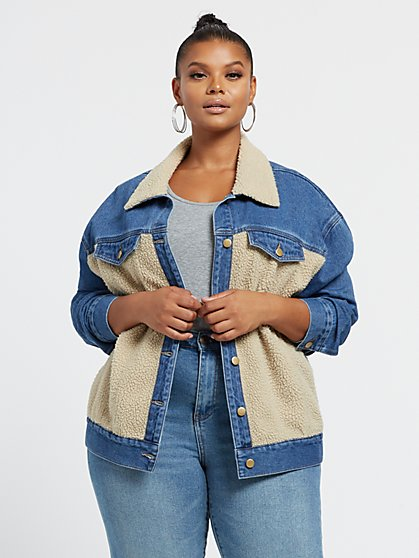 Plus Size Clara Denim & Sherpa Trucker Jacket - Fashion To Figure