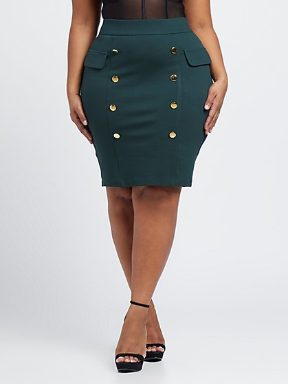 Plus Size Clara Double Button Pencil Skirt - Fashion To Figure