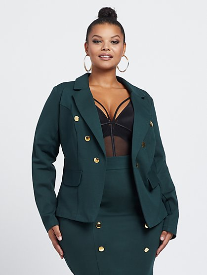Plus Size Clara Military Blazer - Fashion To Figure