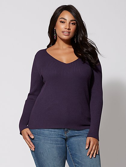 Plus Size Claudia Lace-Up Back Sweater - Fashion To Figure