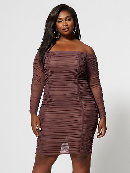 Plus Size Claudia Ruched Mesh Dress - Fashion To Figure