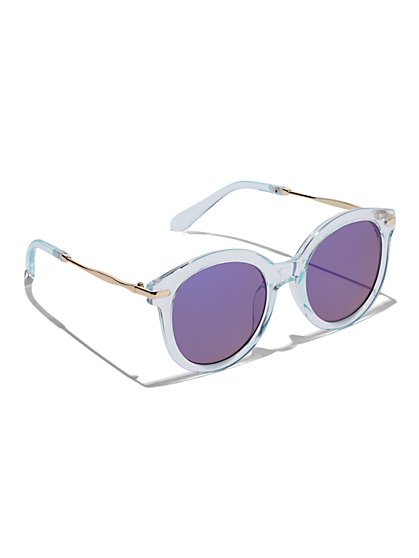 Plus Size Clear Blue Sunglasses - Fashion To Figure