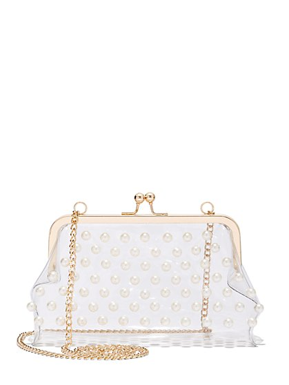 Plus Size Clear Faux-Pearl Accented Purse - Fashion To Figure