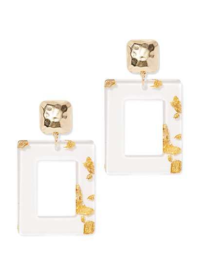 Plus Size Clear Square Earrings with Gold Detail - Fashion To Figure
