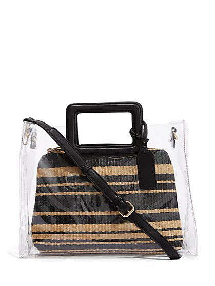 Plus Size Clear Tote With Straw Pouch - Fashion To Figure