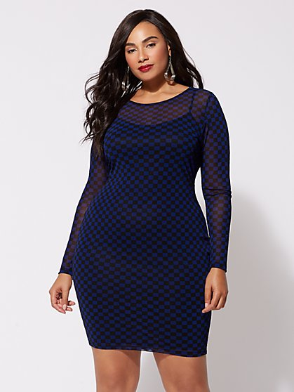 Plus Size Cleo Mesh Bodycon Dress - Fashion To Figure