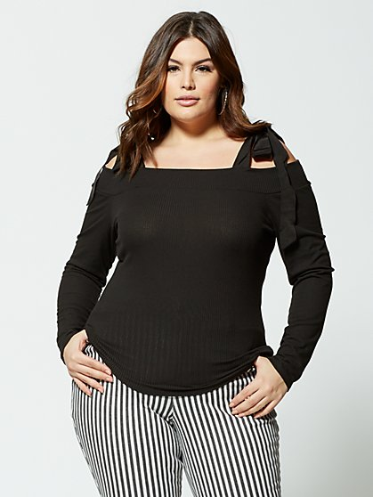 Plus Size Coco Bow-Shoulder Knit Top - Fashion To Figure