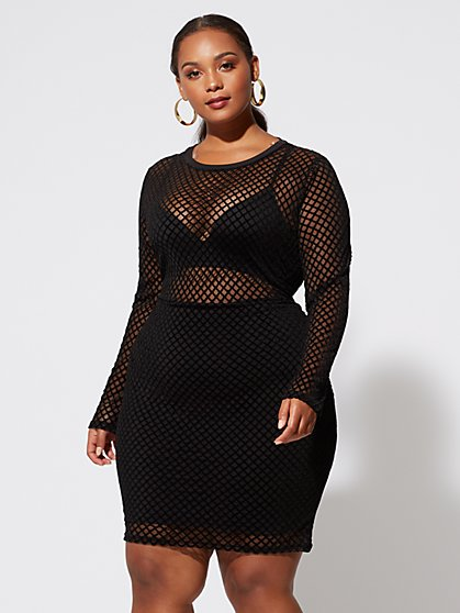 Plus Size Coco Mesh Bodycon Dress - Fashion To Figure