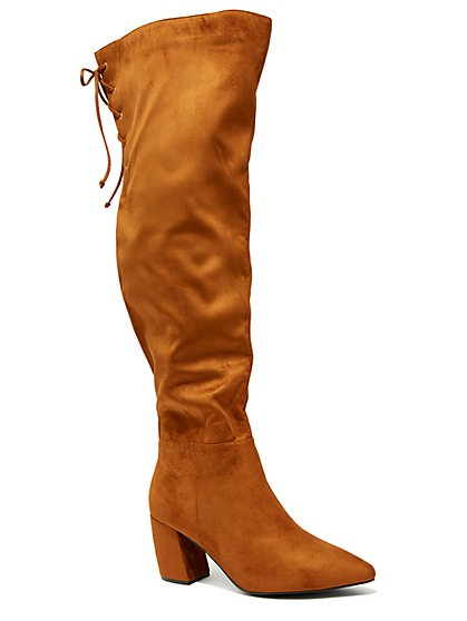 Plus Size Cognac Faux-Suede Over The Knee Boots - Wide Width - Fashion To Figure