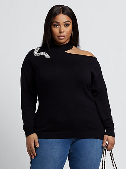Plus Size Colbie Studded Snake Halter Sweater - Fashion To Figure