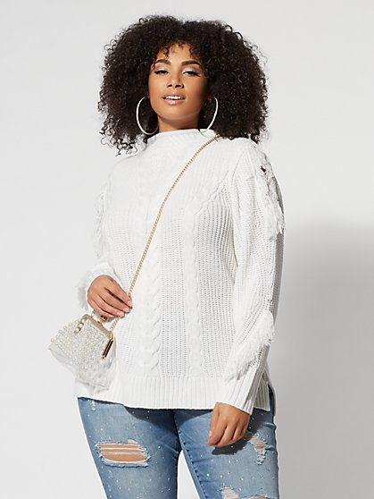 Plus Size Cold-Shoulder with Fringe Sweater - Fashion To Figure