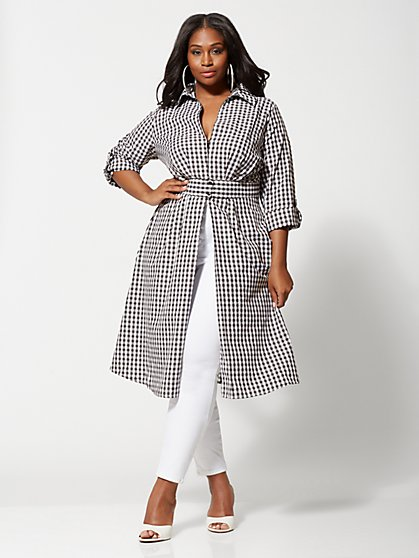 Plus Size Coletta Gingahm Duster - Fashion To Figure