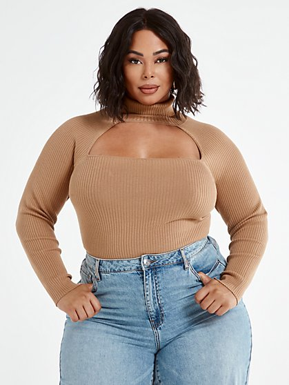 Plus Size Colette Mock Neck Cutout Top - Fashion To Figure