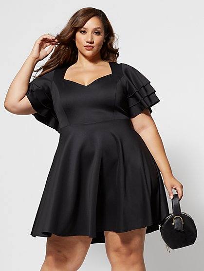 Plus Size Colette Ruffle Sleeve Flare Dress - Fashion To Figure