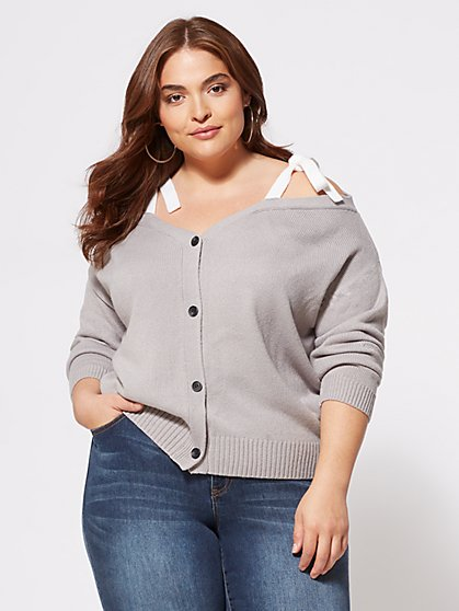 Plus Size Colette Tie-Shoulder Sweater - Fashion To Figure