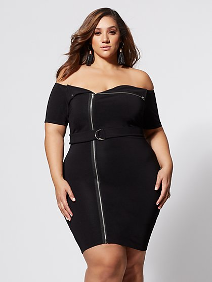 Plus Size Colleen Moto Bodycon Dress - Fashion To Figure