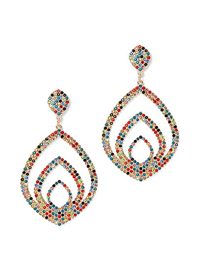 Plus Size Colorful Rhinestone Drop Earrings - Fashion To Figure