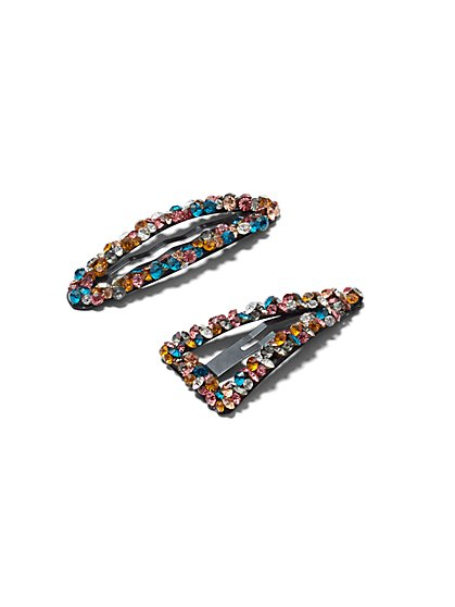 Plus Size Colorful Rhinestone Hair Clips - Fashion To Figure