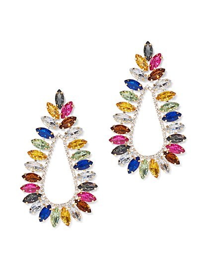 Plus Size Colorful Rhinestone Teardrop Earring - Fashion To Figure