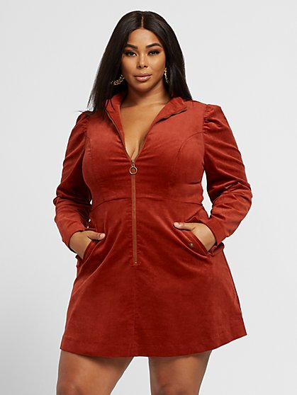 Plus Size Connie Zip-Front Corduroy Dress - Fashion To Figure
