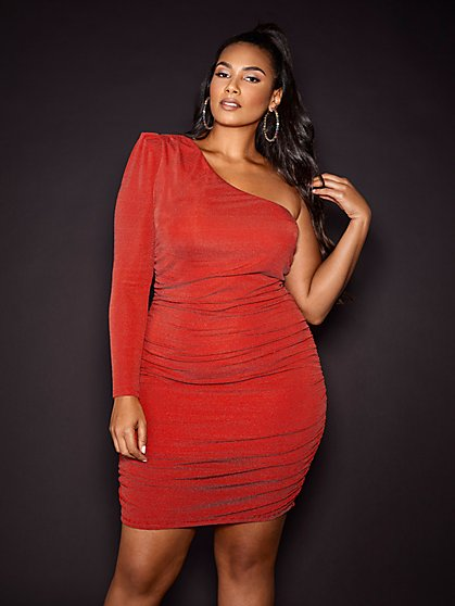 Plus Size Conny One Shoulder Ruched Dress - Gabrielle Union x FTF - Fashion To Figure
