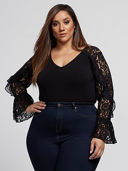 Plus Size Cora Lace Sleeve Blouse - Fashion To Figure