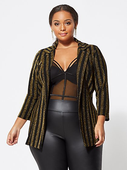 Plus Size Cora Sparkle Blazer - Fashion To Figure