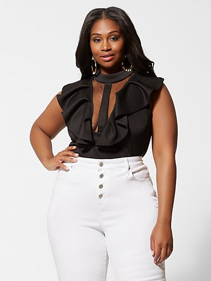Plus Size Coralia Flutter Sleeve and Mesh Top - Fashion To Figure
