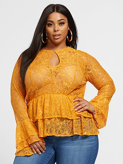 Plus Size Coralie Lace Peplum Blouse - Fashion To Figure