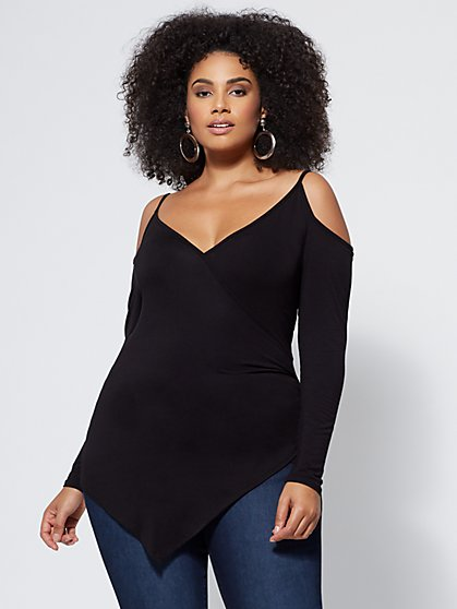 Plus Size Corrine Cold-Shoulder Top - Fashion To Figure