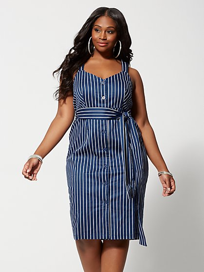 33076c9544 Plus Size Cosette Striped Button Dress - Fashion To Figure ...